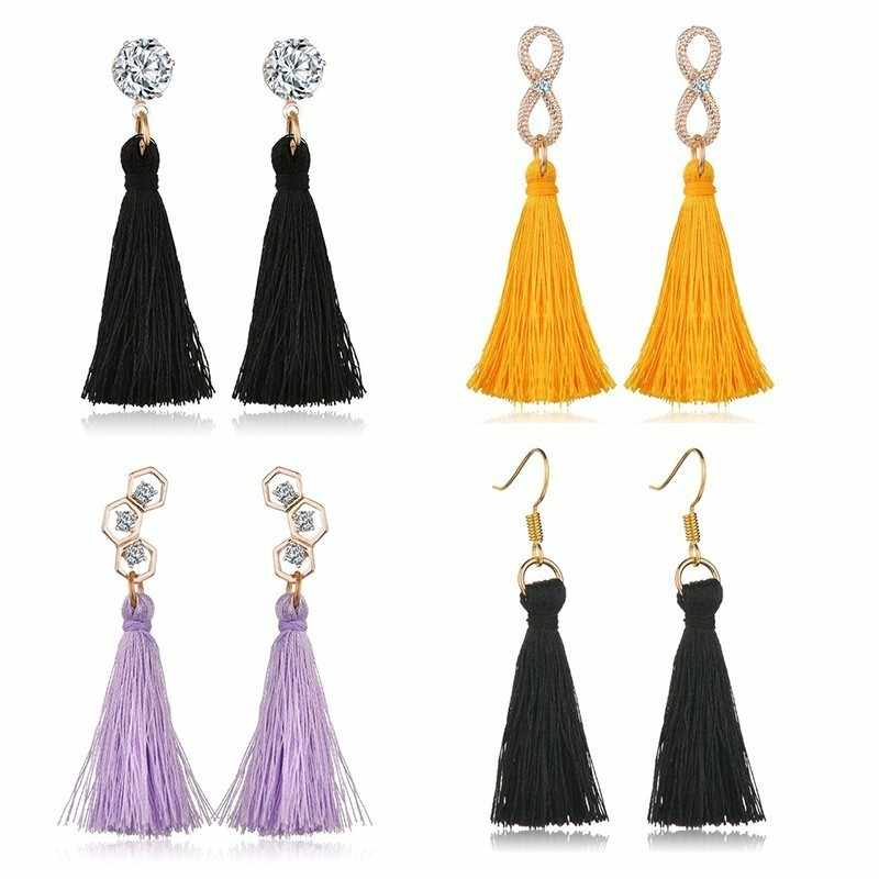 2019 Women Fashion Long Tassel Earrings Boho Hollow Eight Rhinestone Honeycomb Earings Vintage Trendy Bohemia Wedding Jewelry
