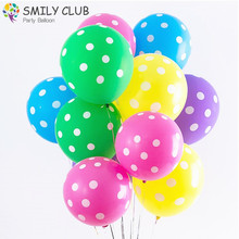 50pcs /lots 12Inch Round Red Pink Black White Blue Color Polka Dot latex Balloons Baby Shower Birthday Party Wedding Decoration