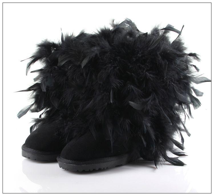 À Pour Mode Thermique Épaississement Plume Peau haute Chaussures Noir Main De Printemps Bottes Vache Caoutchouc La Femmes Les En Neige Genou cBPWnRxUW