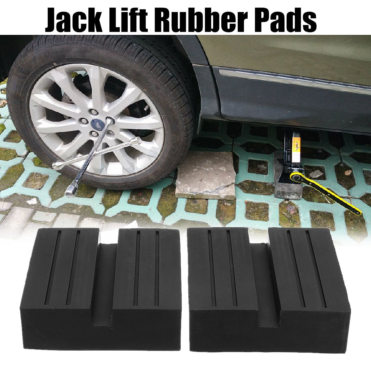 Universal 2Pcs 5cm Slotted Frame Rail Floor Jack Guard Adapter Lift Rubber Pads