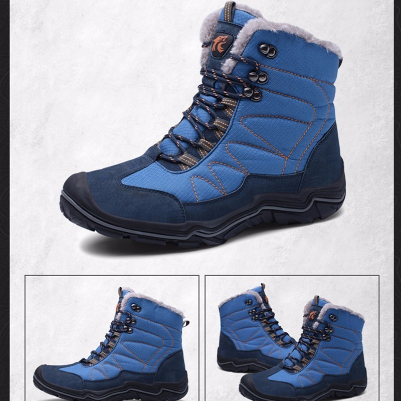 Boots Male Winter Walking Keep Warm Increase Down Thickening High Help Mountaineering Outdoor Waterproof Man Cotton padded Shoes