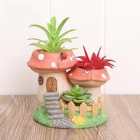 Modern Resin Mushroom Bonsai Succulents Pot Retro Permeable Ceramic Green Plant Flower Pots Living Room Office Garden Home Decor