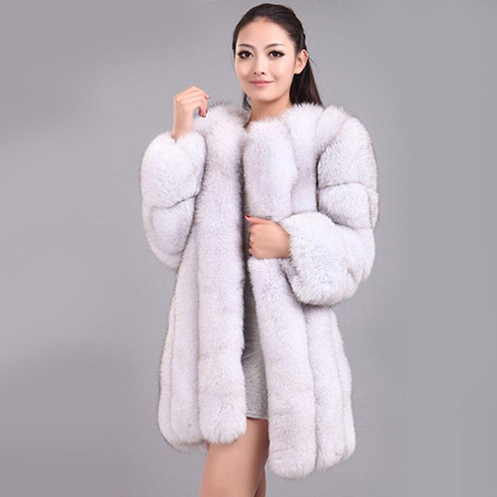 Nouveau hiver femme moelleux fausse fourrure manteau qualifié épais imité fourrure de renard pardessus femme vêtements d'extérieur chauds - 2