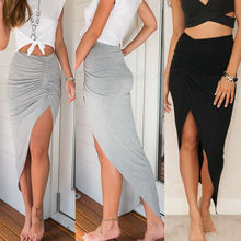 New Women High Waisted Asymmetric Stretch High Cut Skirt Party Bodycon Sexy Skirt Female Casual  Skirts stylish women s high waisted buttons embellished flare skirt