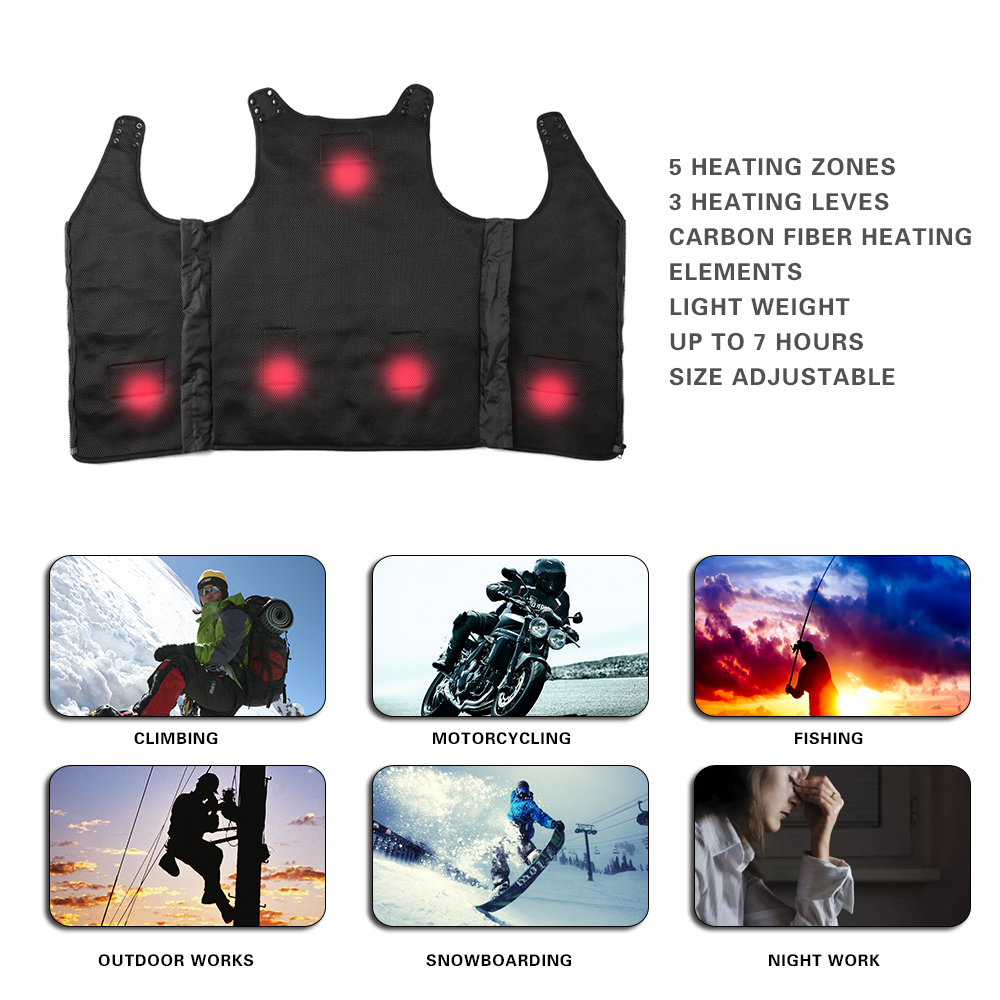 New Fashion Warm Heated Vest Windproof Thermal Thick Vest Clothes Breathable For Men Women Winter Jacket Warmer Waistcoat
