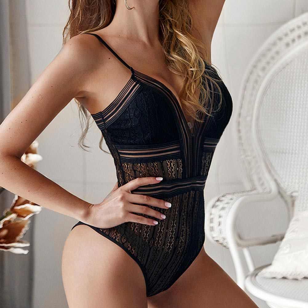 Модные кружевные Женское боди, комбинезон Глубокий v-образный вырез сексуальный черный/белый без рукавов Спагетти ремень прозрачное боди Кружевное боди