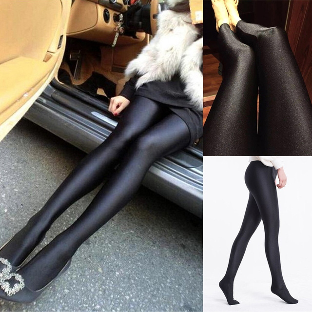ffed6cf72a270 Women Reflective Pantyhose Sexy High Elastic Skinny Tights Anti Hook Stocking  Black Glossy Stockings Lingerie Collant Hosiery