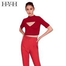 HYH HAOYIHUI  Sweet Academic Style Street Breeze Chest Triangle Hollowing Out Knitting Sweater Red Color New Arrival Sexy Tops