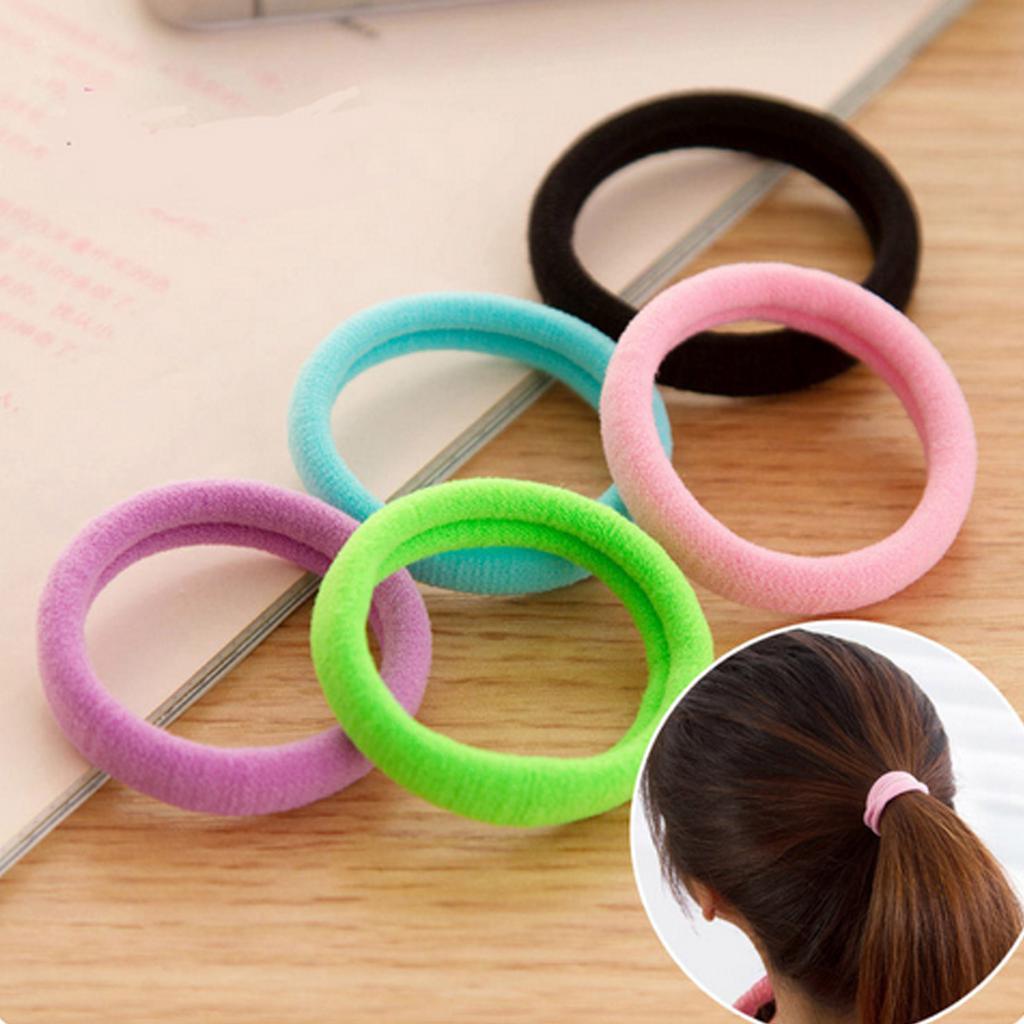 100 шт./лот 3,5 см красочные бесшовная высокая эластичность волос трикотажные резинки для волос Для женщин девочек черный волос резинки для волос аксессуары