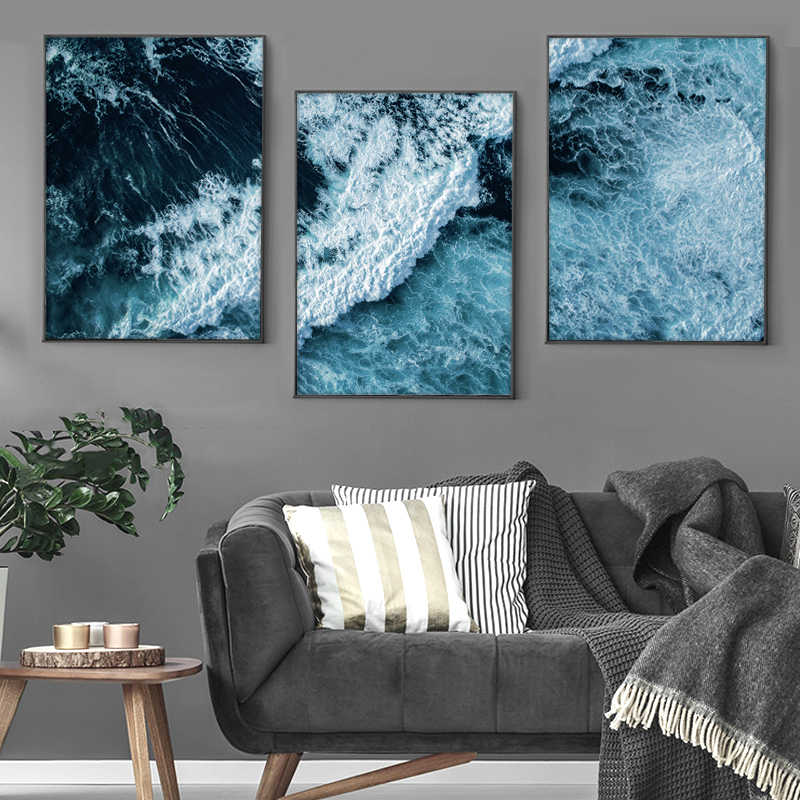 Scandinavian Landscape Canvas Wall Art Poster Nordic Style Coastal Print Modern Minimalist Painting Nature Decoration Pictures