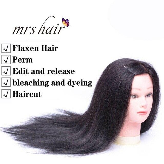 "MRS HAIR Training Head Model Real Human Hair Head Model Hair Salon Hairdressing Teaching 8"" - 18"" Black Brown Color Training Mod 1"