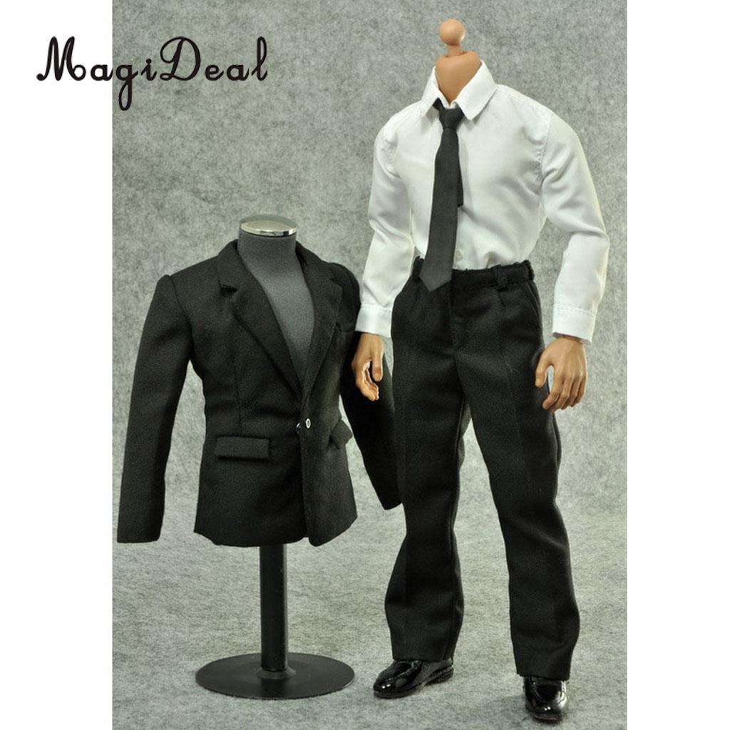 """1//6 Scale Men Suit White Shirt Pants Tie Clothes Set For 12/"""" Male Figure Body"""