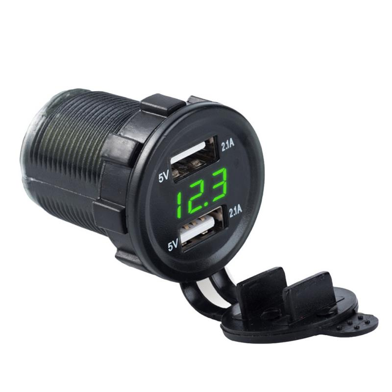 4.2A Dual USB Car Charger With Voltage Digital Display Car Cigarette Lighter LED Socket Two Holes One For Phone Charger4.2A Dual USB Car Charger With Voltage Digital Display Car Cigarette Lighter LED Socket Two Holes One For Phone Charger
