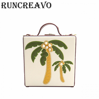 2018 Fashion PU leather female shoulder bag summer stitching coconut tree square Korean style pearl box bag Messenger bag