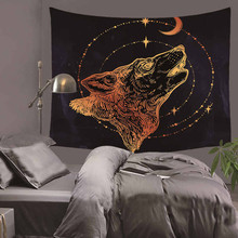 Where Light And Dark Meet by JoJoesArt Tapestry Wall Hanging For Adults Kids Animal Wolf Printed Bed Sheets Decorative
