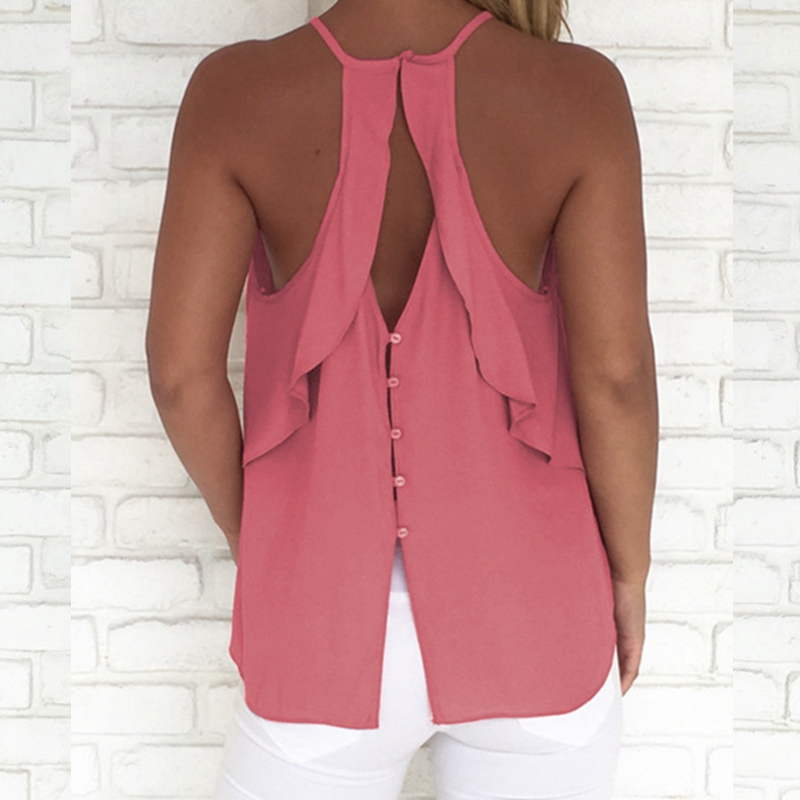 Sleeveless Camisole Halter   Top   2019 Summer Women Ladies Casual Loose Solid Beach Holiday Crew Neck Camic Pink Button   Tank     Tops