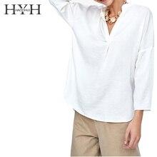 HYH HAOYIHUI New Spring Summer Blouse Women Long Sleeve Shirts Fashion Leisure Chiffon Office Ladies White Sexy V-shaped Shirt