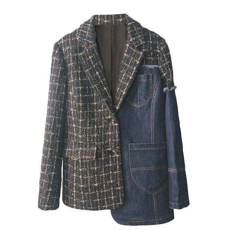 Блейзеры, однобортные ковбойские строчки в клетку, с карманами в стиле ретро
