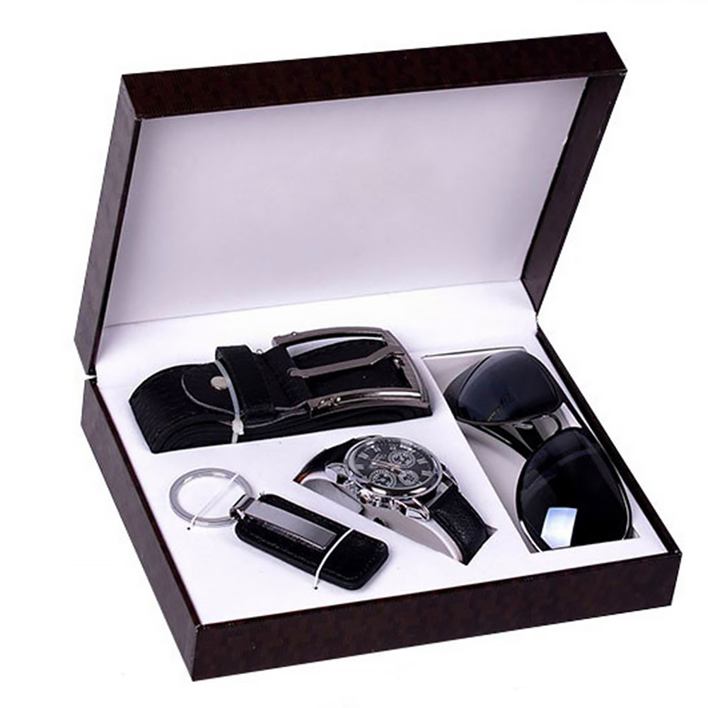 4Pcs Present Alloy Black Gift Set   Belt   Sunglasses Box Father Boyfriend Fashion Valentine's Day Men Watch Keychain Birthday