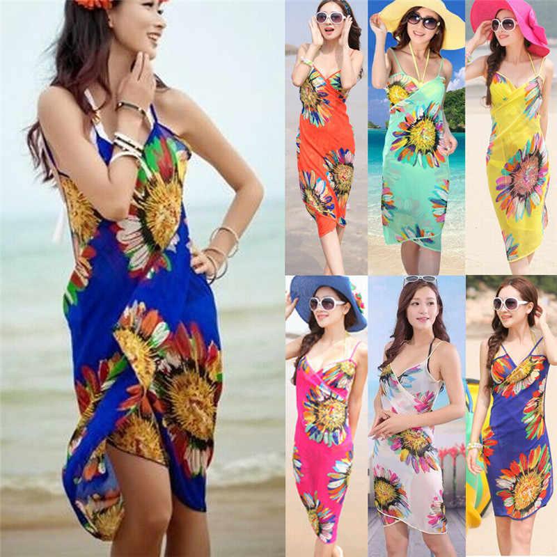 فستان صيفي للشاطئ للنساء لعام 2019 ملابس سباحة بكيني ملابس سباحة لتغطية ملابس السباحة من قماش السيرونج تنورة طويلة مزينة بالأزهار مطبوعة