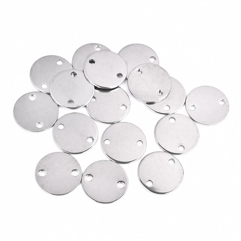 30pcs lot Blank Stainless Steel Charms Round Love Heart Pendant DIY Necklace Bracelet Jewelry Making Accessories Customized Gift in Charms from Jewelry Accessories