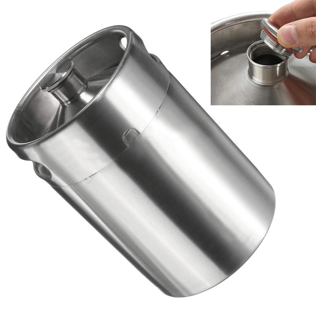 JX-LCLYL acier inoxydable Homebrew Mini Baril Growler Brassage de La Bière Faire 5L 170 oz Argent