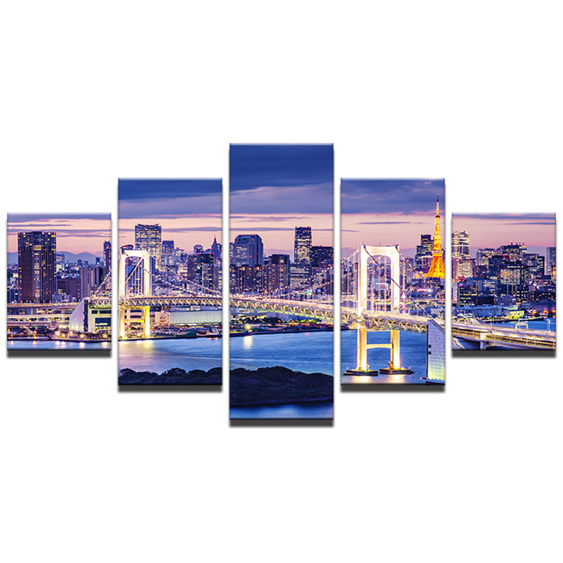 5 Panel Tokyo Rainbow Bridge Night Landscape Painting Wall Art Canvas Printed Modern Home Decor For Living Room Artwork Cuadros in Painting Calligraphy from Home Garden