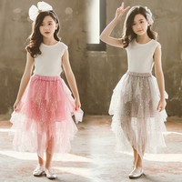 Sequin Spring Summer Fluffy Soft Tulle Skirt For Girls Long Big Girl Skirt Tutu 2019 Black Grey Pink Mother And Daughter Clothes