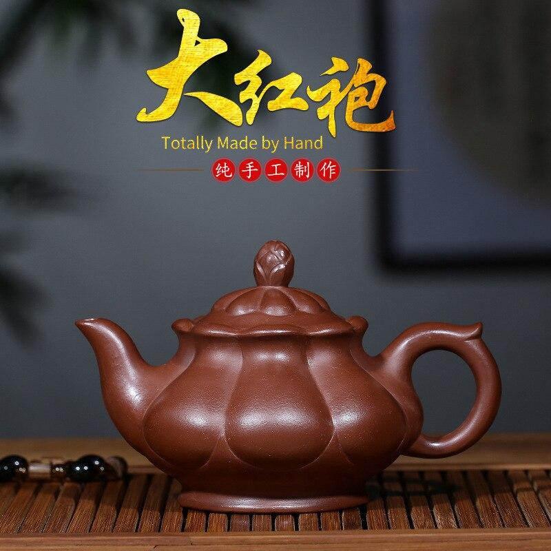 Hundred Believe Yixing Yixing Local Raw Ore Bright Red Robe Famous Full Manual Chrysanthemum Pot Flower Goods Teapot