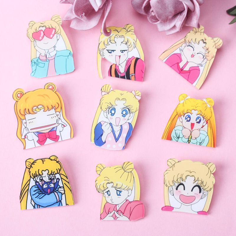 1pcs Sailor Moon Girls Cartoon Brooch Icons On Backpack Acrylic Badges Cartoon Pin Badges For Clothes Decoration Badge Z45 Home & Garden