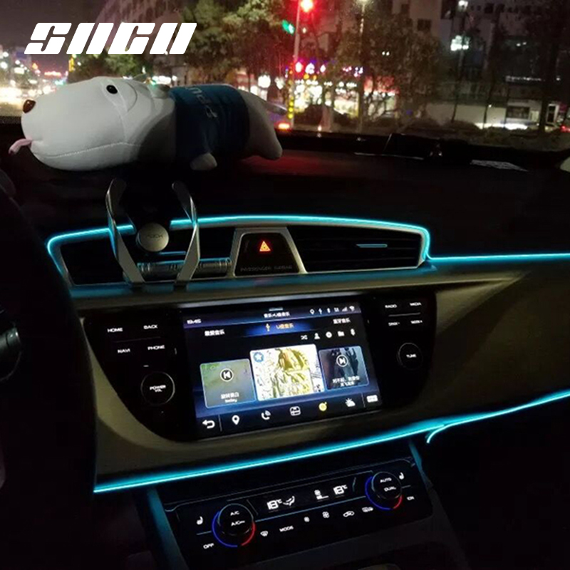 Us 8 0 50 Off Flexible Neon Car Interior Atmosphere Led Strip Lights For Seat Ateca Ibiza Leon Toledo Plug And Play 300cm 500cm Crystal Blue In