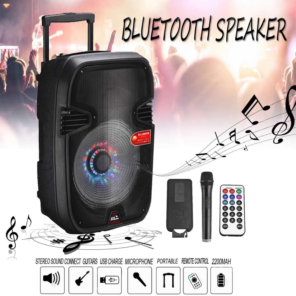 Haut-parleur bluetooth sans fil extérieur 15 pouces haut-parleur stéréo Portable haut-parleur Super haut-parleur avec carte USB/TF