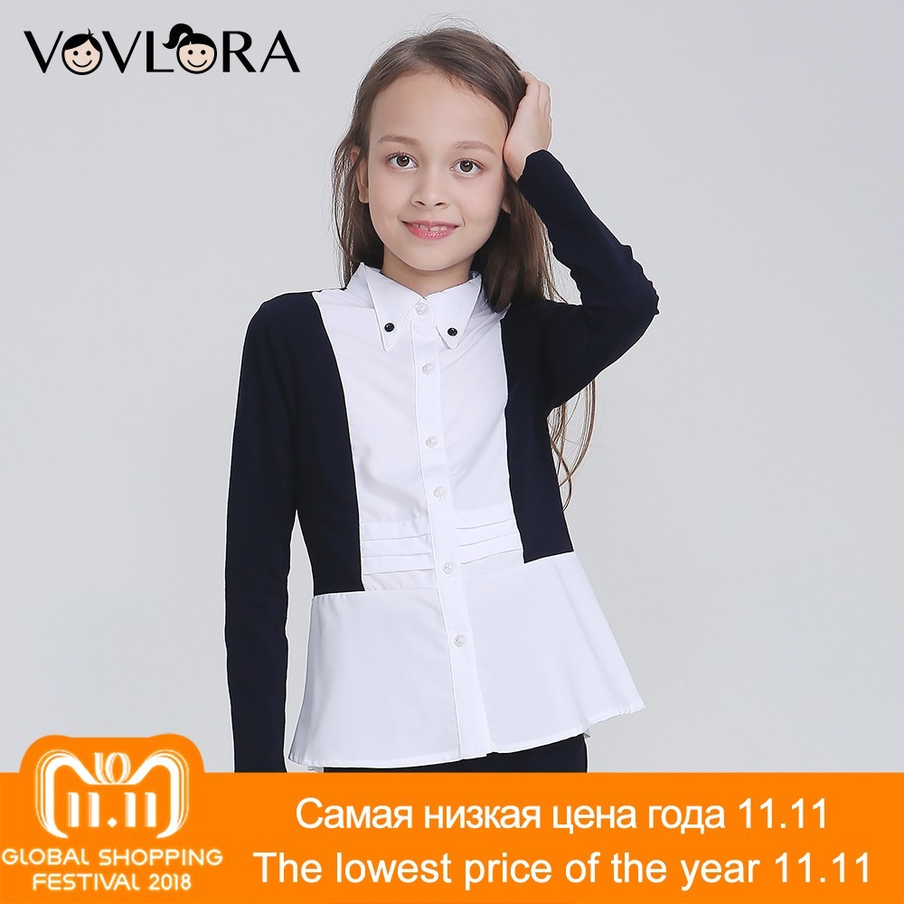 Autumn Long Sleeve School Girls Blouses Pleated Lace Button Children Blouse Fashion 2018 School Uniform Size 7 8 9 10 11 12 Year high quality excavator seal kit for komatsu pc200 5 bucket cylinder repair seal kit 707 99 45220