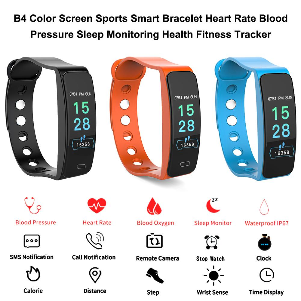 B4 Color Screen Sports Smart Bracelet Heart Rate Blood Pressure Sleep Monitoring Health Fitness Tracker Color Box Charging Cable-in Smart Wristbands from Consumer Electronics