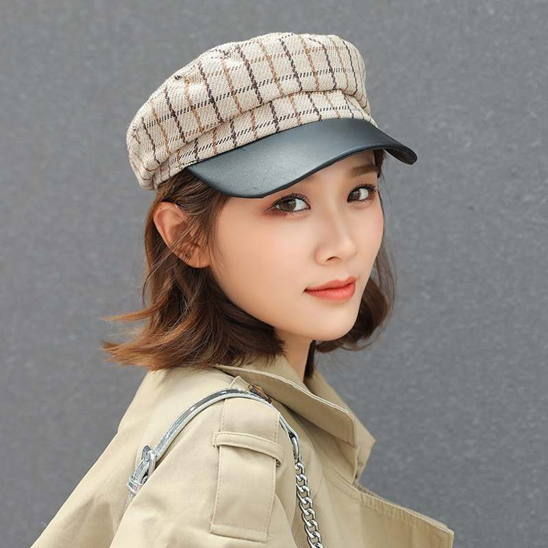 New Womens Retro Beret Lady Painter Style Octagonal Caps 2018 Autumn Winter Vintage Grid Plaid Hats Female Flat Cap Women Berets
