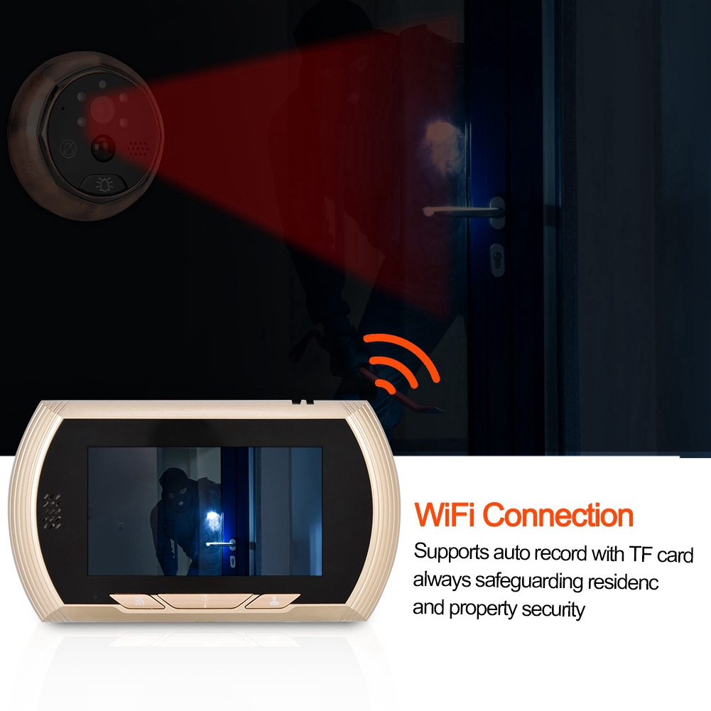 Image 4 - 4.3in Smart WiFi Doorbell Cat Eye Camera IR Night Vision Motion Detection Alarm Unique Detachable Battery Design deurbel-in Doorbell from Security & Protection