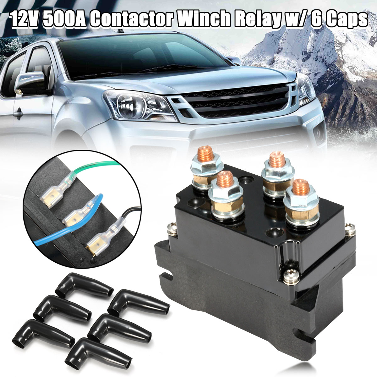 Winch Motor Reversing Solenoid Winch Solenoid Relay Contactor Thumb Truck12 Volt