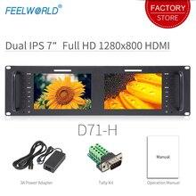 Feelworld D71 H Çift 7 inç HDMI AV 3RU Raf Montaj Yayın Monitör IPS HD 1280x800 LCD Gösteriliyor Ince tasarım ile LAN Bağlantı Noktası
