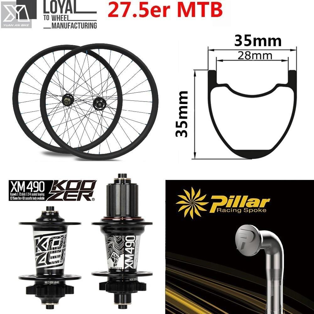 27.5er MTB Carbon Wheel 35*35mm 650B Hookles Rim Koozer XM 490 Hub And Pillar Spoke For Corss Country All Mountain Bike Wheelset(China)