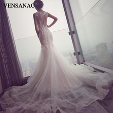 VENSANAC Lace Appliques O Neck Tulle Court Train Mermaid Wedding Dresses Illusion Buttons Backless Bridal Gowns