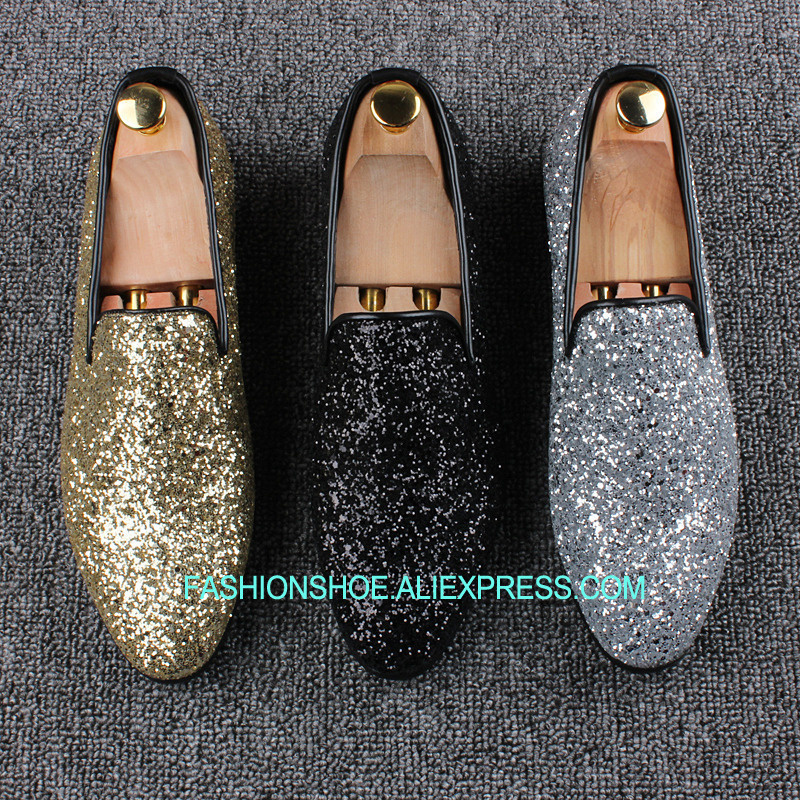 Silver Gold Black Lazy Shoes Shinny Glitter Slip on Peans Shoes for men Flat heel Spring SummerSilver Gold Black Lazy Shoes Shinny Glitter Slip on Peans Shoes for men Flat heel Spring Summer