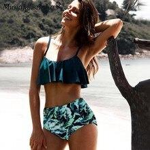 Minimalism Le 2019 Sexy Bikini Set Women Bikinis High Waist Beach Wear Print Swimwear Ruffle Striped Swimsuit Female Biquini XXL