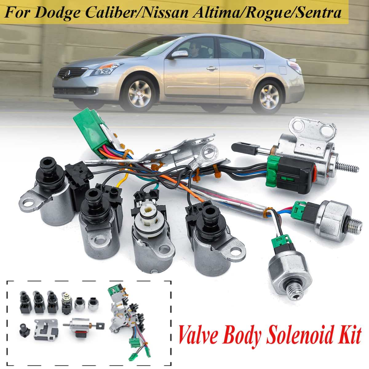 Valve Body Solenoids Kit For Nissan Altima Sentra Rogue CVT JF011E RE0F10A F1CJA 33446-JF011 33420XX1