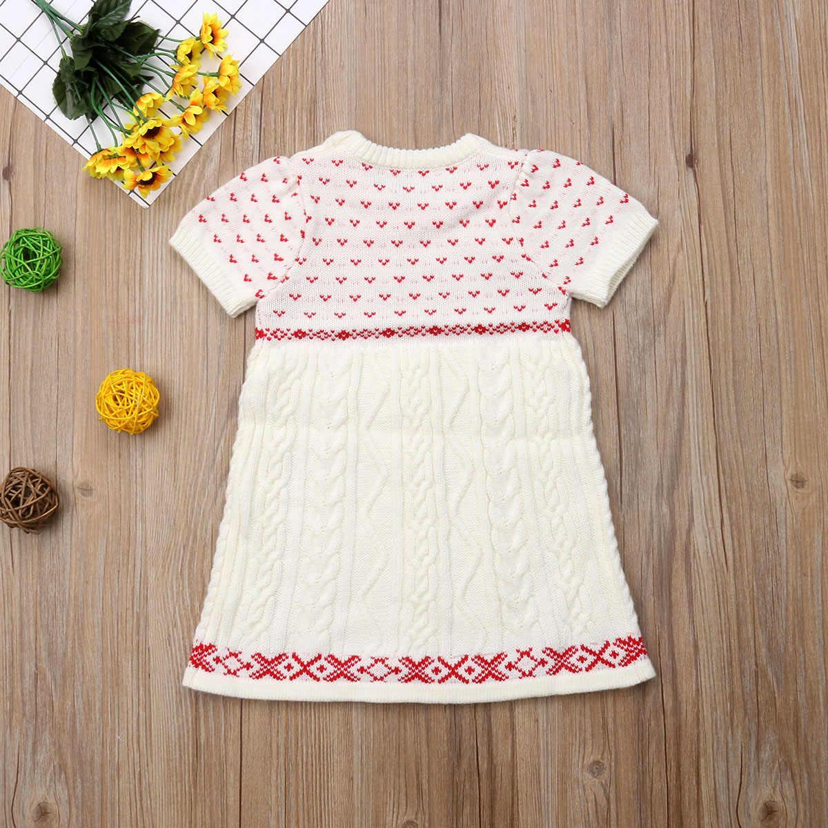 8831733493cf6 Girl Knitting Wool Sweater Warm Crochet Dress Autumn Cute Clothes Christmas  Newborn Kids Baby Girls Dresses Clothing 6M-5T