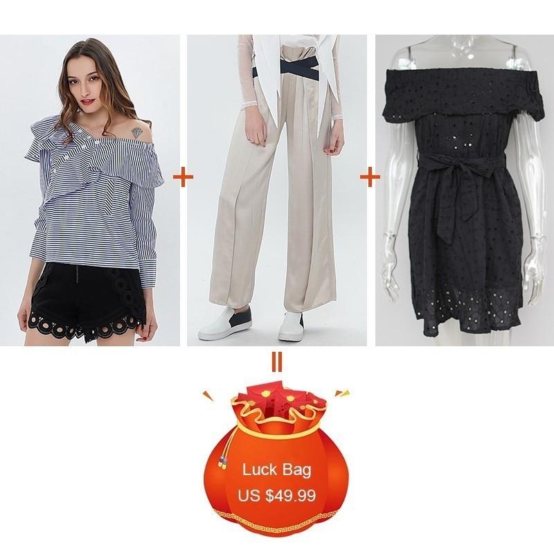 Nouveau Chemises combination Rayé Robe Encolure Liquidation Pantalon Chicever Ruches Femmes Haute Bandage Taille Combination Arc Jambe Large 2 lot 3 1 De Mini Pièces BqBnF84H