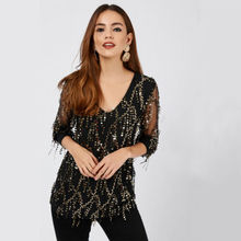 Ladies Vneck Long Sleeve Glistening Sequin Slim T-Shirt Tops Women Clothes 2019 New Arrival