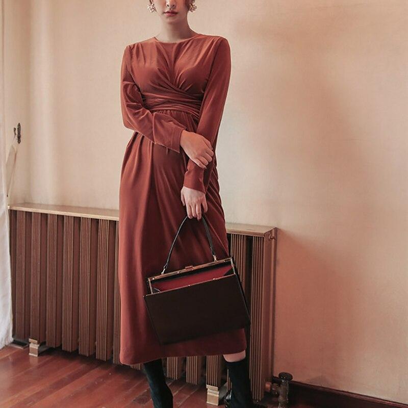 Осенние женские элегантные вечерние красные бархатные платье с поясом с круглым вырезом и длинным рукавом офисные Длинные Макси платья жен...