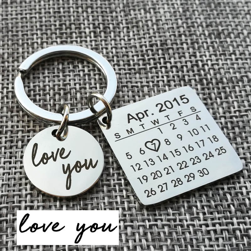 Personalized Calendar Keychain, Engraved With Your Texts Signature Keyring Hand Stamped Calendar, Date Highlighted With Heart