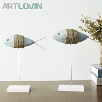 Vintage Home Decoration Wooden Fish Figurines Animal Statue Mediterranean Style Decorative Living Room Ornaments Couple Fish