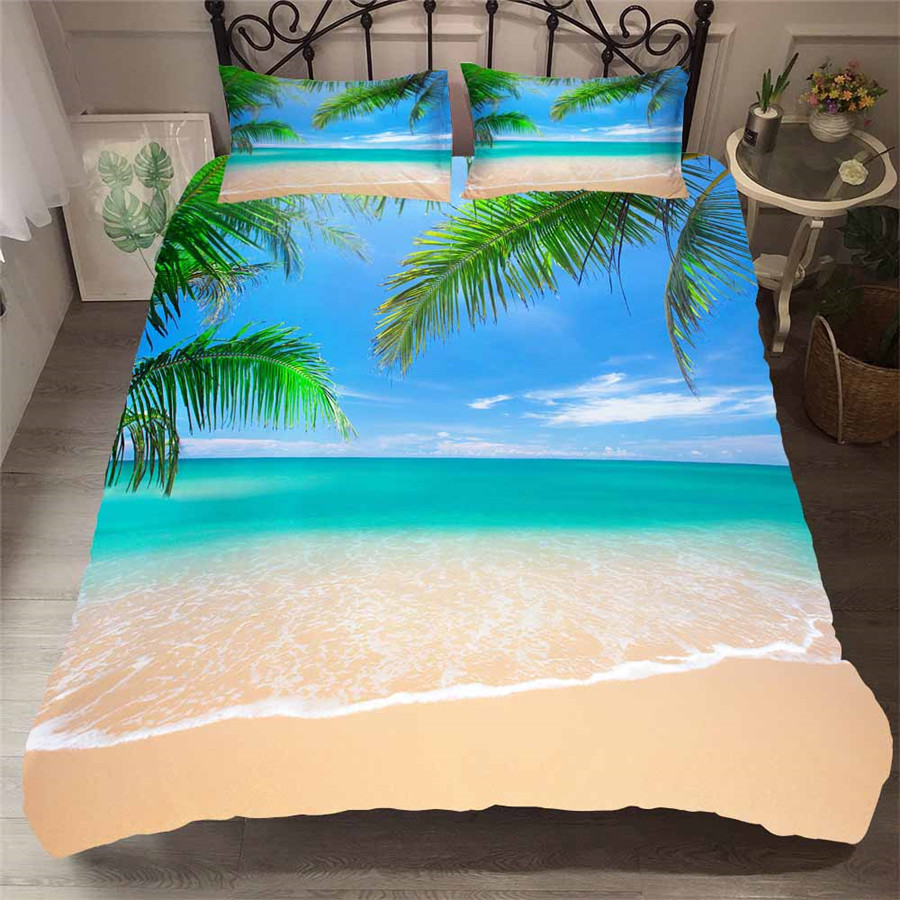 Bedding Set 3D Printed Duvet Cover Bed Set Beach Coconut Tree Home Textiles For Adults Lifelike Bedclothes With Pillowcase HL14